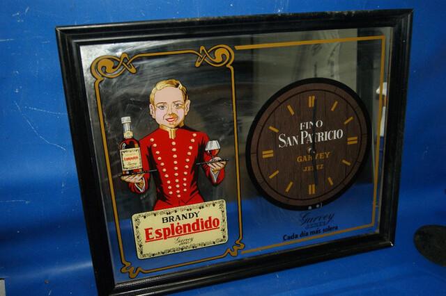 Antiguo Cuadro Bar Y Reloj Brandy