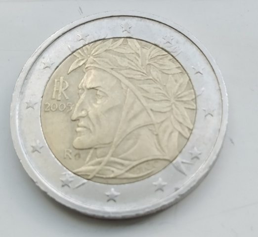 Moneda 2 Euros Italia Dante 2005