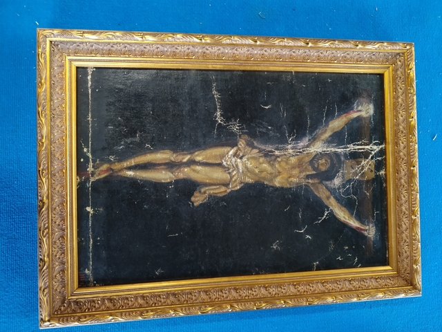 Antiguo Cuadro De Cristo En La Cruz