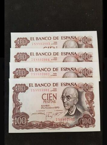 Billetes De 100 Pesetas Correlativos Y N
