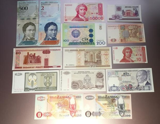 14 Billetes Del Mundo Sin Circular
