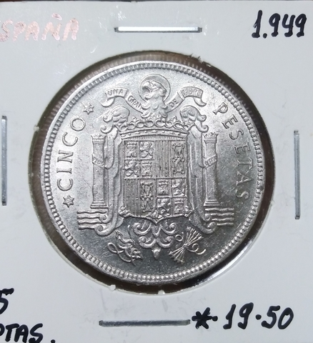 Moneda 5 Pesetas 1949 Franco
