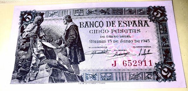 Billete De 5 Pesetas Del 1945, Sc.