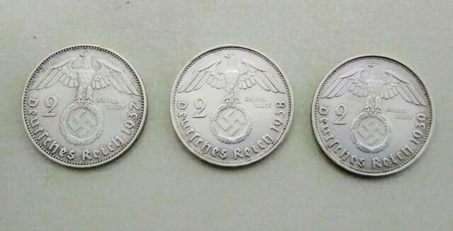 3 Monedas De Plata 2 Reichsmark Alemania