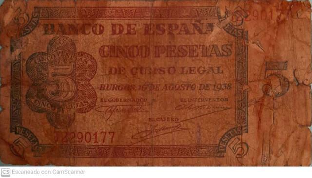 5 Pesetas 1938 Burgos