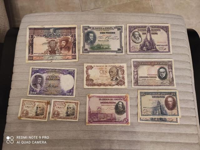 Lote De Billetes Españoles Antiguos