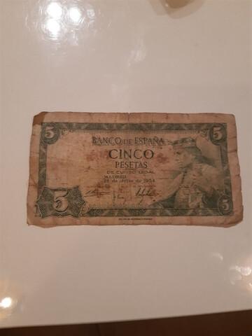 Billete De 5 Pesetas Año 1954