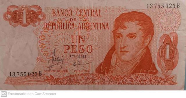 Billete De 1 Peso República Argentina