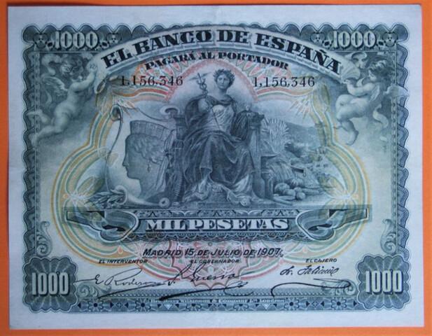 BILLETE 1000 PESETAS 1907 - foto 1
