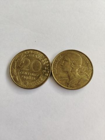 Moneda 20 Céntimos Franceses Coleccionar