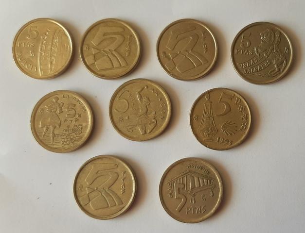 Lote De 10 Monedas De 5 Pesetas.