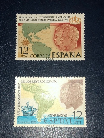 Lote 2 Sellos España 1976-Viajes Reyes.!