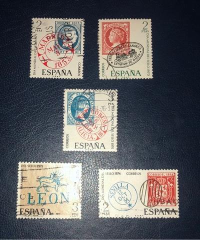Lote 5 Sellos España 1970/76-Dia M.Sello