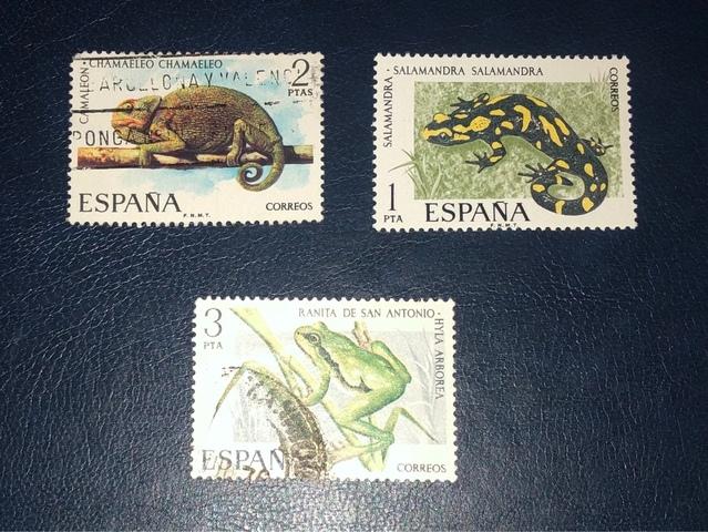 Lote 3 Sellos España 1974/75-Reptiles-!