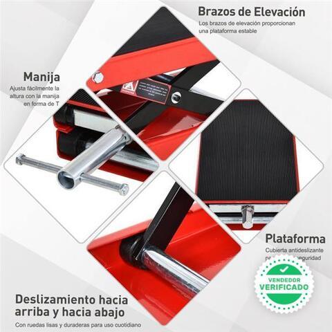 DURHAND Plataforma Elevadora de Tijera con Soporte para Motocicletas con Altura Ajustable Carga 500 kg 41,5x23,5x10-37 cm Negro y Rojo