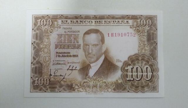 Billete 100 Pesetas 1953 Julio Romero