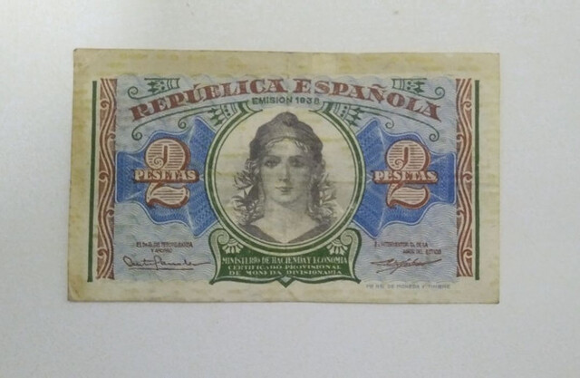 Billete 2 Pesetas 1938 Republica
