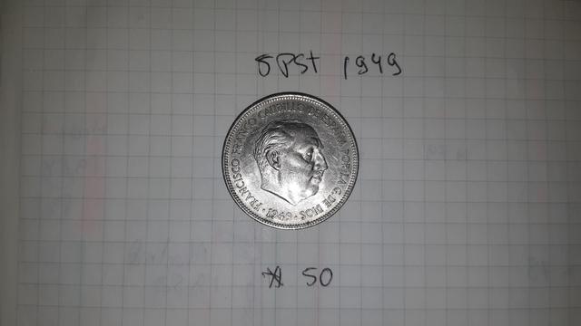 5 Pesetas 1949 O Duro Cabezon Estrell 50