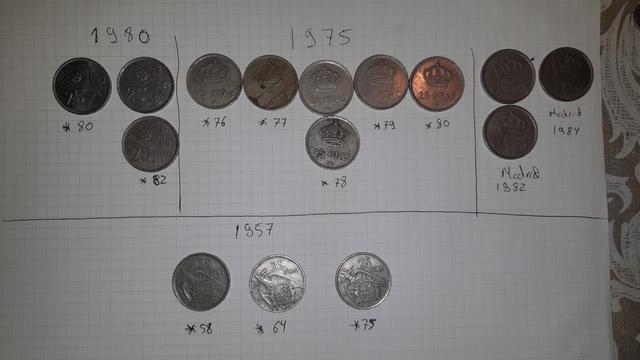 25 Pesetas 1957, 1975, 1980, 1982