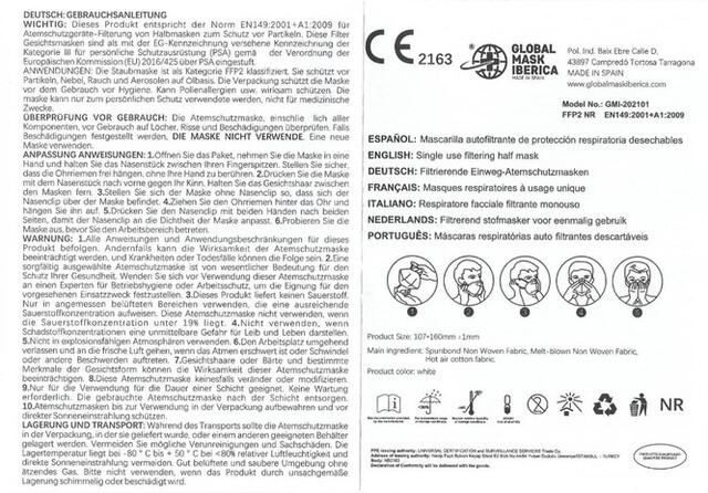 MASCARILLA FFP2 CERTIFICADO CE (20UDS) - foto 6