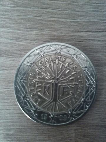 Moneda 2 Euros Francia 1999. Árbol.