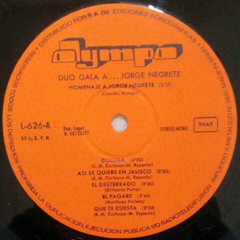 LP 1971 DÚO GALA A JORGE NEGRETE - foto 3