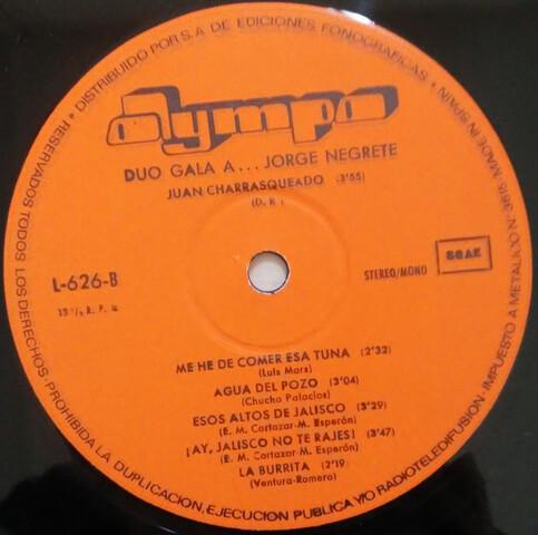 LP 1971 DÚO GALA A JORGE NEGRETE - foto 4