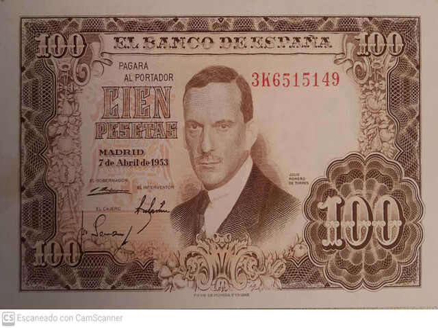 100 Pesetas 1953, Sin Circular-