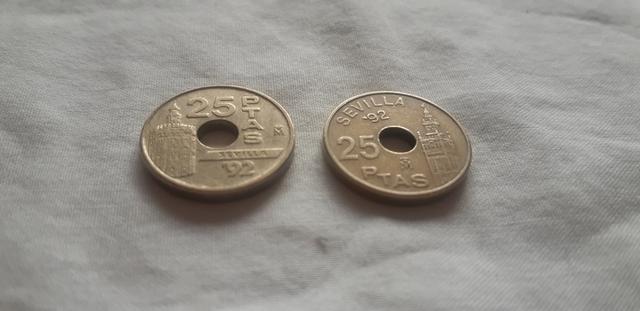2 Monedas 25 Pesetas 1992
