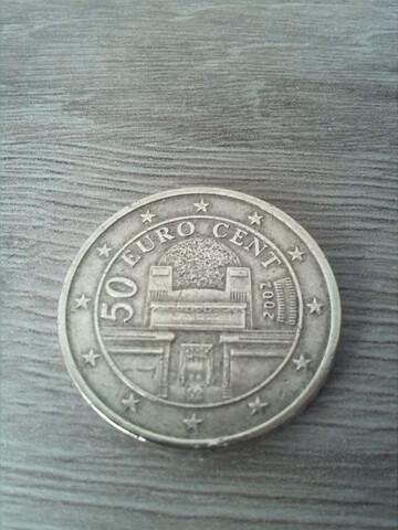 Moneda 50 Céntimos Euro. 2002. Austria