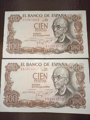 Billetes De Cien Pesetas Num. Consecutiv
