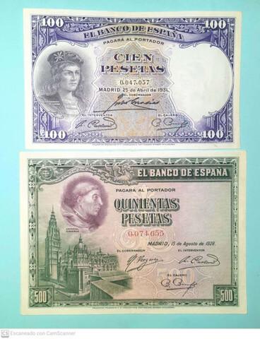 100 Pts 1931 Y 500 Pts 1928 Nº Bajisimos