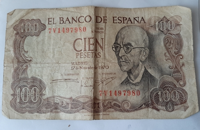 Billete De 100 Pesetas De 1970.