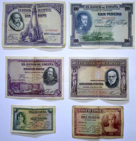 Billetes De Pesetas 1925, 1928 Y 1935