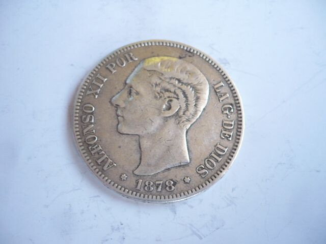 Moneda De Plata 5 Pts. 1878 Alfonso Xii
