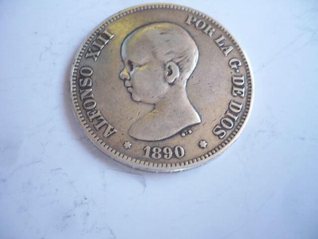 Moneda De 5 Pts. Alfonso Xiii Año 1890