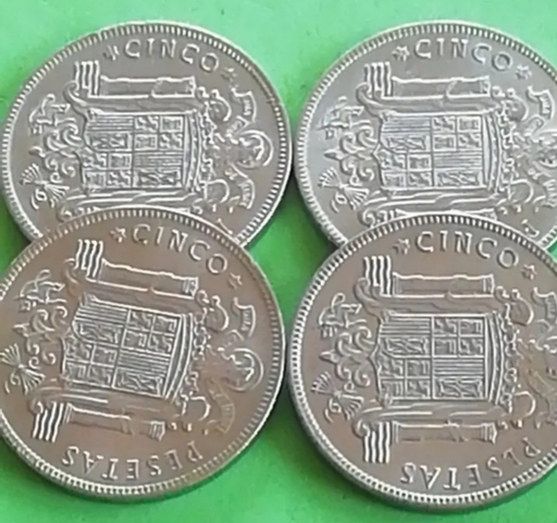 Lote. 4 Monedas De 5 Pesetas De 1949.