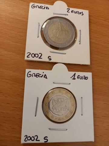 """Monedas De 2  Y 1  Griegas Con \""""S\"""""""