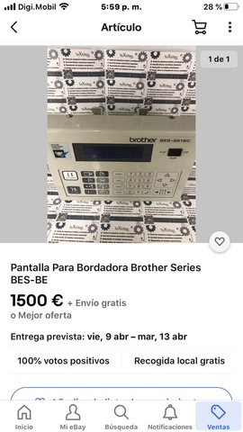 PANTALLA BORDADORA BROTHER SERIES BES, BE - foto 1