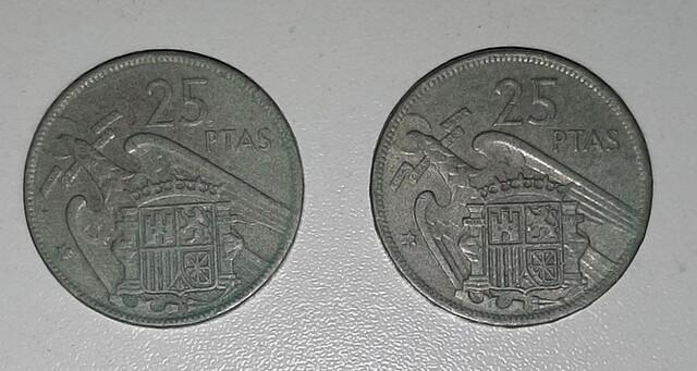 Monedas De 25 Pesetas De 1957