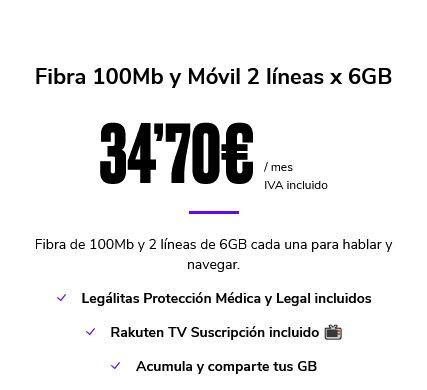 FIBRA 100MB Y MÓVIL 2 LÍNEAS X 6GB - foto 1
