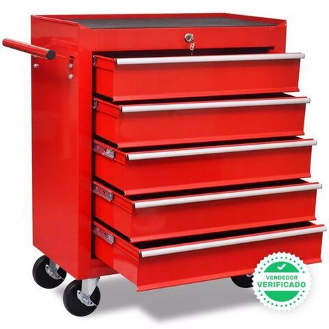 Carrito Caja Herramientas 5 Cajones Rojo