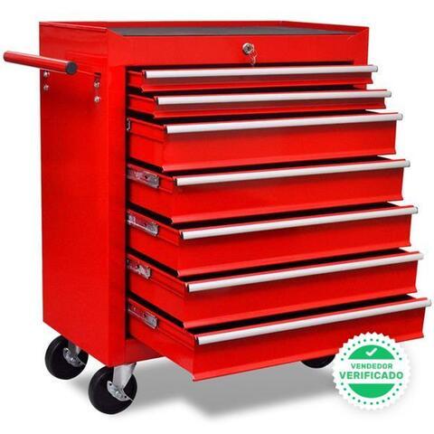 Carrito Caja Herramientas 7 Cajones Rojo