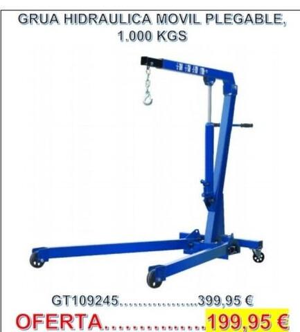 Grúa Hidráulica 1. 000 Kg.  En Oferta