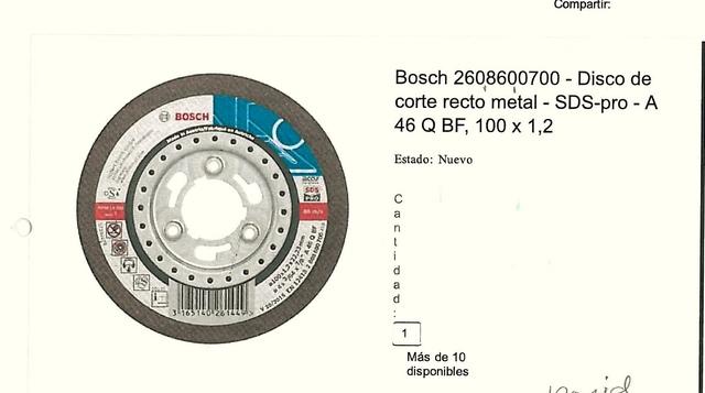 Compro Discos De Corte.  Bosch.