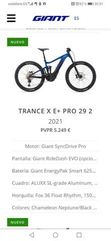 Giant Trance X  E+ 2 Pro 29 Año 2021