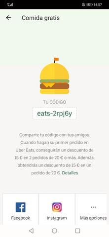 CÓDIGO DE DESCUENTO UBER EATS - foto 1