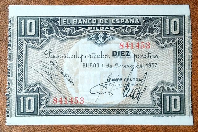 10 Pesetas 1937 De Bilbao, Sc/Plancha