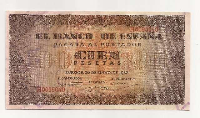 100 Pst 1938 Serie H,Última Emitida,Sc