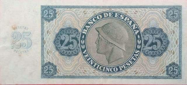 25 Pesetas 1936 Burgos, Serie A,Sc-